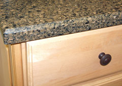 engineered quartz countertop and cabinet drawer